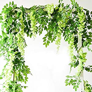 Artificial Flowers 3 Pcs 6.6ft Wisteria Garland Ivy Vine Silk Hanging Plants for Wedding Arrangements Outdoors Decorations Home Garden Party Decor Simulation Flower 55