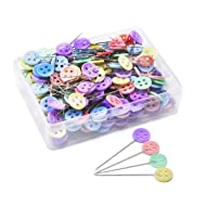 JoyFamily 200 Pieces Flat Button Head Pins Boxed for Sewing DIY Projects (Assorted Colors), Mixed