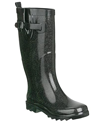 Capelli New York Shiny Solid With Allover Glitter Ladies Rain Boot Black 6