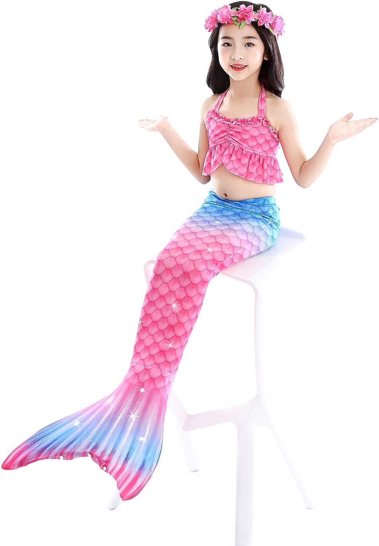 Starjerny 3PS M/ädchen Cosplay Kost/üm Badenbkleidung Meerjungfrauen Schwimmanzug Badeanz/üge Meerjungfrauenschwanz f/ür Schwimmen Kinder Farbewahl