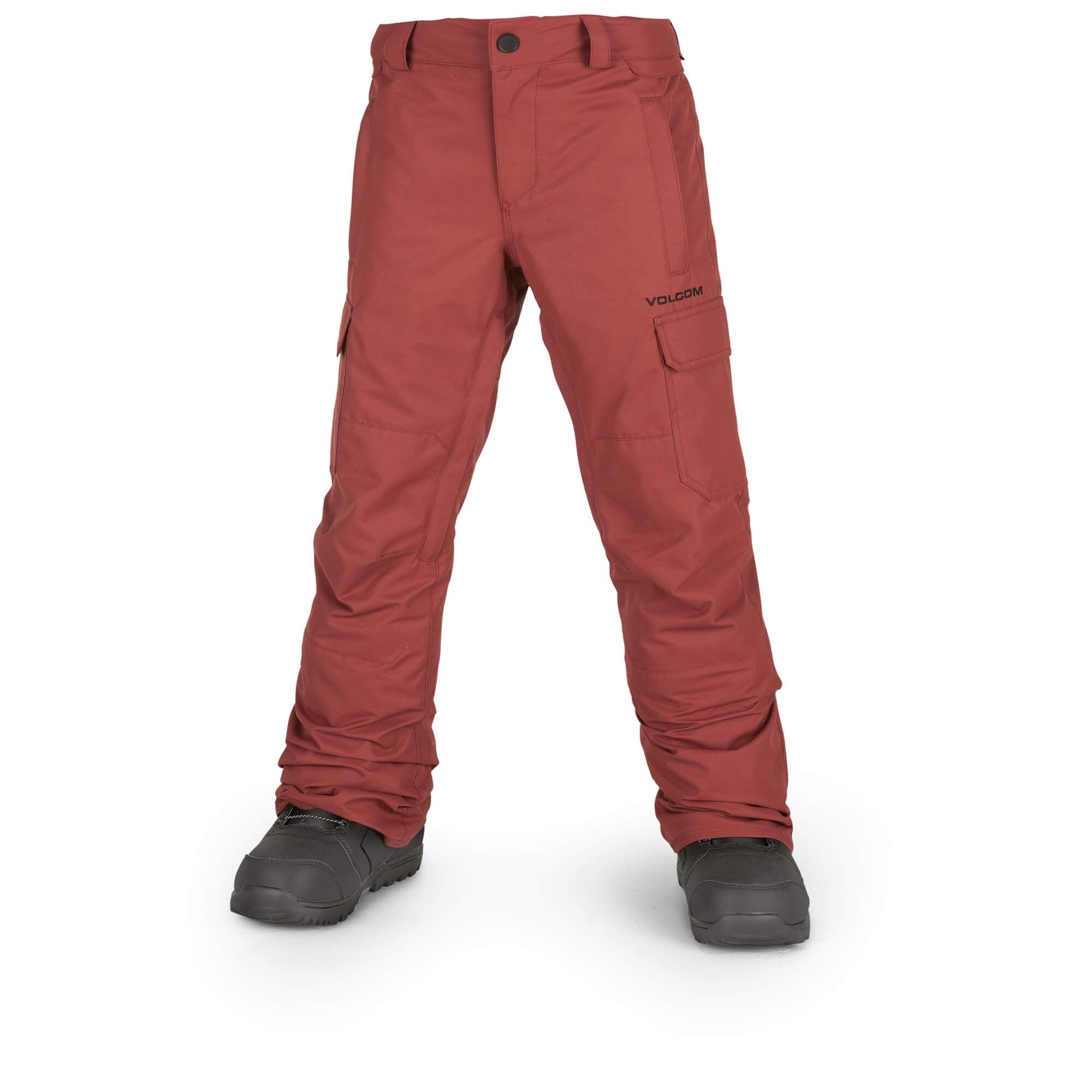 Volcom Boys' Big Cargo Insulated 2 Layer Shell Snow Pant, Burnt red, Medium