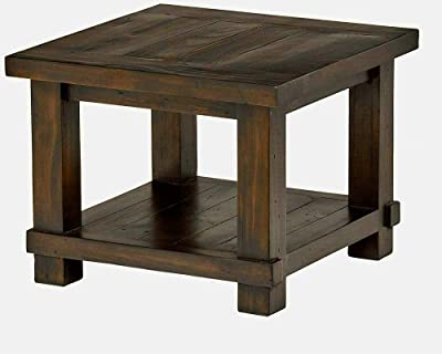 Square Rustic End Table Wood Side Table for Living Room with Storage Shelf Small Wooden Furniture Brown Color & eBook by EAS&FunDeals