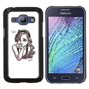 EJOOY---Cubierta de la caja de protección para la piel dura ** Samsung Galaxy J1 J100 ** --smart dibujo a lápiz de dibujo muchacha del arte