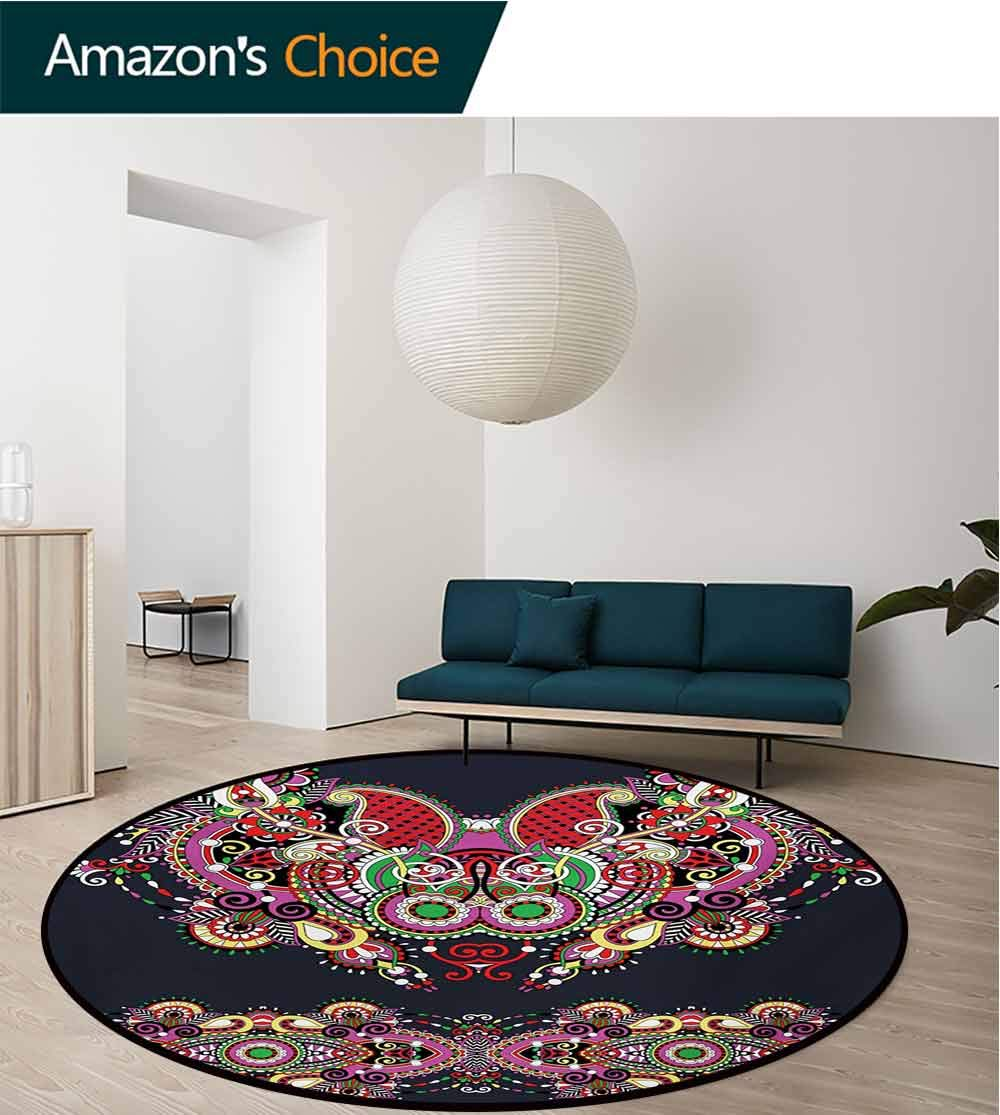 RUGSMAT Ethnic Non-Slip Area Rug Pad Round,Ukrainian Embroidery Fashioned Ornate Paisley with Unique Features Motif Protect Floors While Securing Rug Making Vacuuming,Round-71 Inch