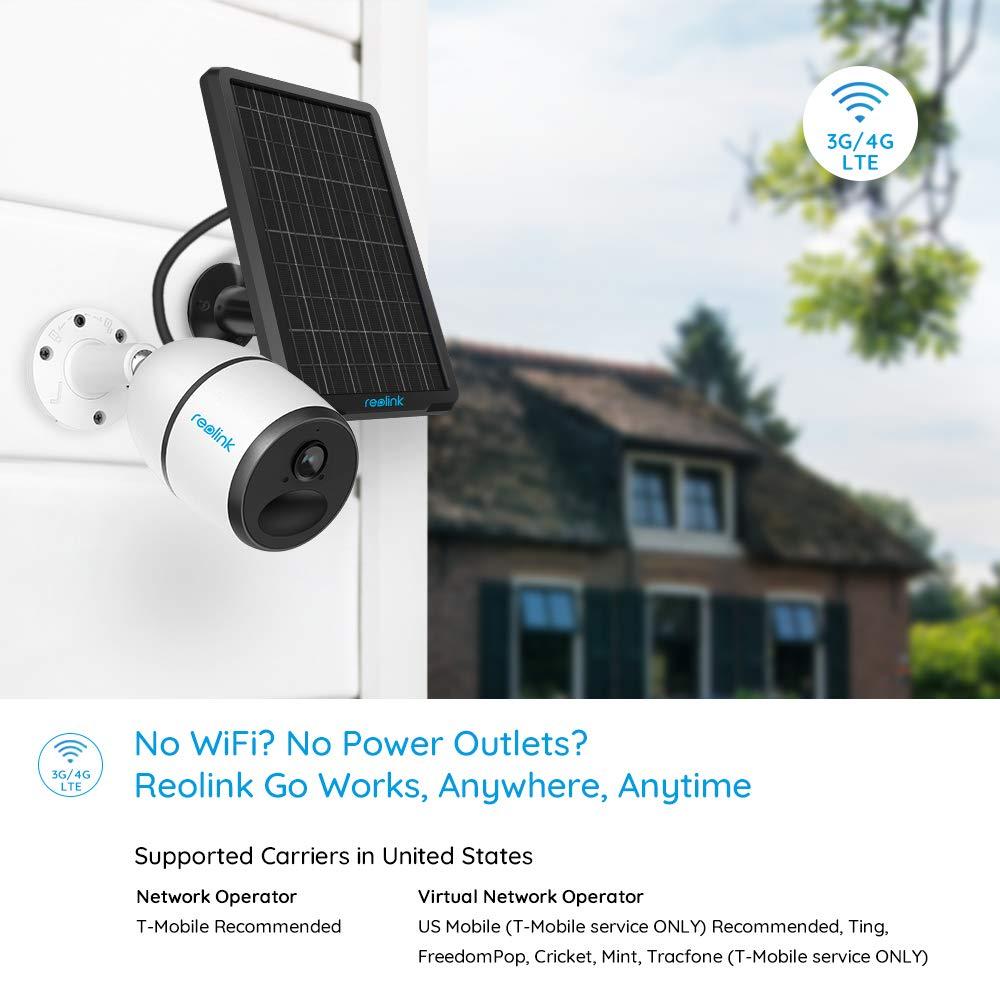 Audio Bidireccional Reolink Go Visi/ón Nocturna HD 1080P Alimentaci/ón Solar Sensor de Movimiento PIR C/ámara de Seguridad con Bater/ía sin Cables para Exteriores 3G // 4G LTE con Panel Solar