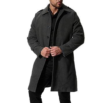 Chaquetas Hombre Trench Coat Turn-Down Collar Casual Hombres Rompevientos Otoño Largo de los Hombres Chaqueta de un Solo Pecho Casual Coat: Amazon.es: ...