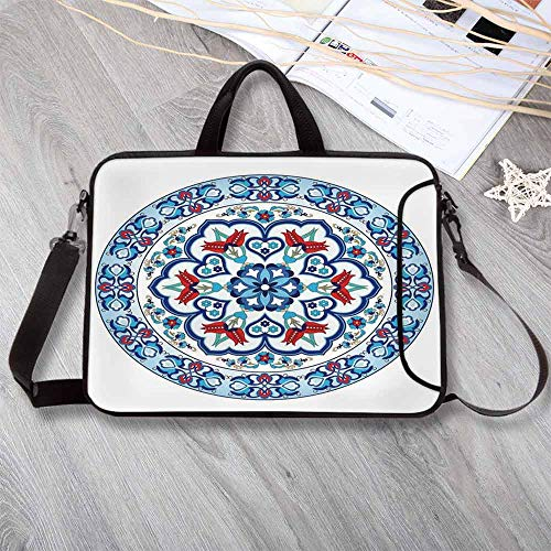 - Antique Decor Anti-Seismic Neoprene Laptop Bag,Ottoman Turkish Style Art with Tulip Period Ceramic Floral Art Elements European Touch Print Laptop Bag for Travel Office School,13.8