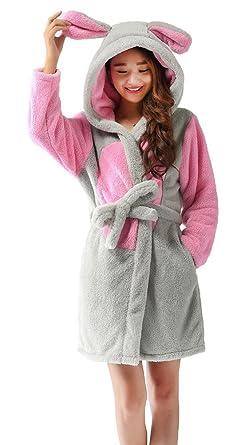 Amazon.com  Nicetage Women s Animal Hooded Bathrobe Soft Warm Plush ... 3e973c115