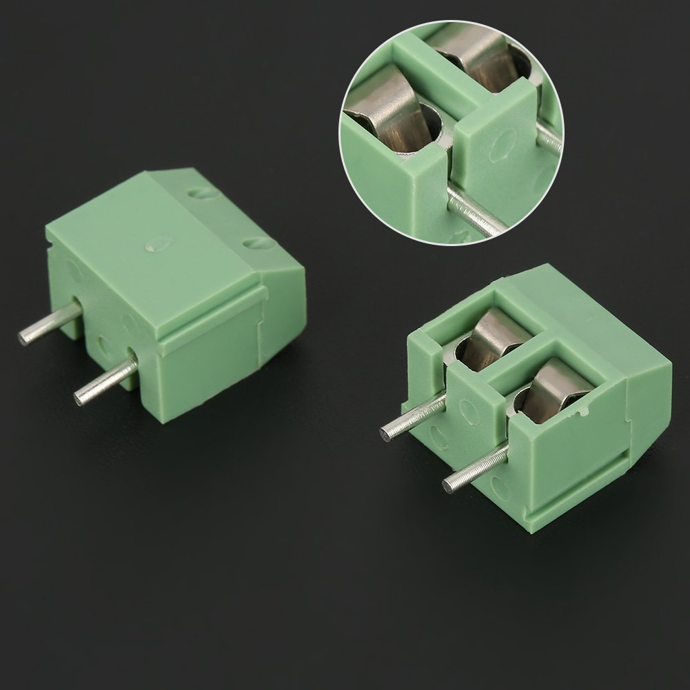 Screw Terminal Block Connector 2 Pin 5mm 50 Pcs//Set PCB Universal Screw Terminal Block Connector Green