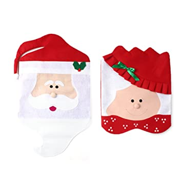 Christmas Santa Hat Chair Covers Decor Kwock Creative Cute Claus Cover Xmas Home