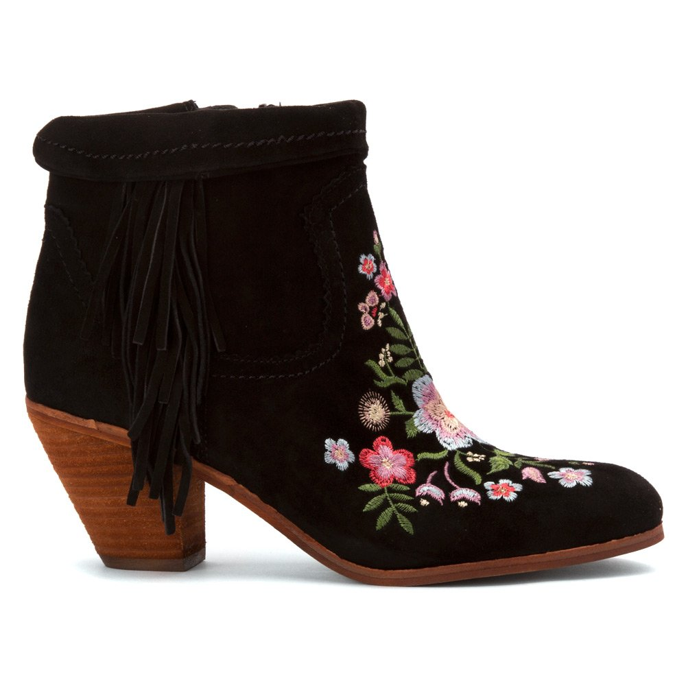 9baaf06e36bd Sam Edelman Women s Letti Black Kid Suede Leather Embroidery Boot   Amazon.co.uk  Shoes   Bags