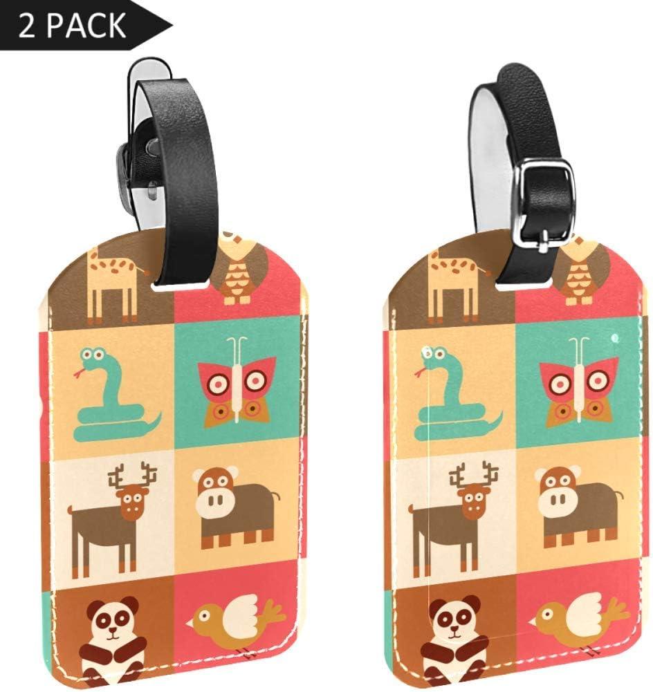 LORVIES - Etiquetas de equipaje con diseño de animales tabulares, 2 unidades
