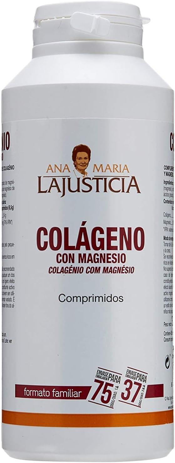 Ana Maria Lajusticia - Colágeno con magnesio – 450 comprimidos articulaciones fuertes y piel tersa. Regenerador de tejidos con colágeno hidrolizado tipos 1 y 2. Envase para 75 días de tratamiento.