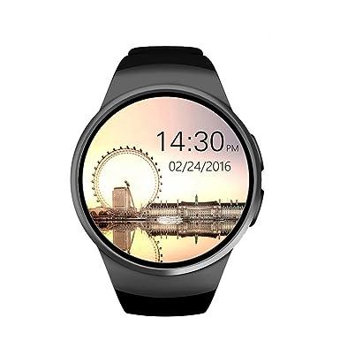 Efanr KW18 redondo Bluetooth reloj inteligente con ranura para tarjeta SIM, reloj de pulsera Smartwatch podómetro ...