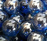 "Unique & Custom {5/8'' Inch} 4 Pounds Of ""Round"" Clear Marbles Made of Glass for Filling Vases, Games & Decor w/ Oceanic Iridescent Artistic Metallic Pretty Cobalt Design [Blue & Silver Colors]"