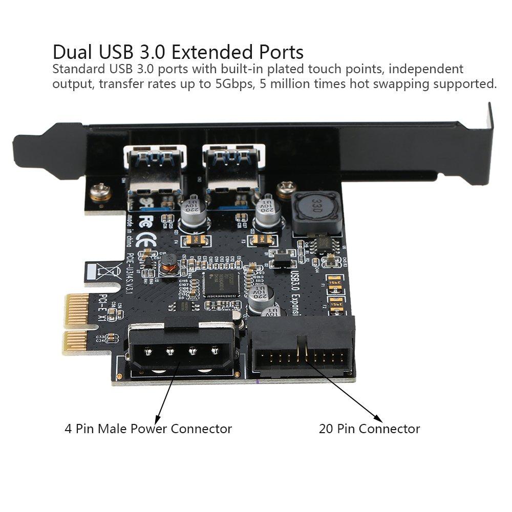 Amazon.com: Walmeck STW PCI-E to USB 3.0 2-Port PCI Express ...