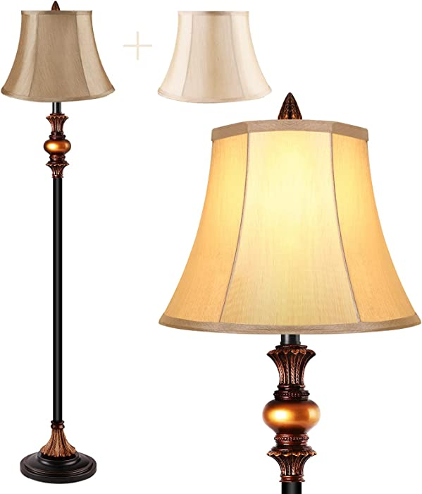 Floor Lamps for Living Room, Royal Bronze Standing Lamp with 2 Faux Silk Shades, Vintage Tall Floor Lamps for Bedrooms, Office, Home Decor