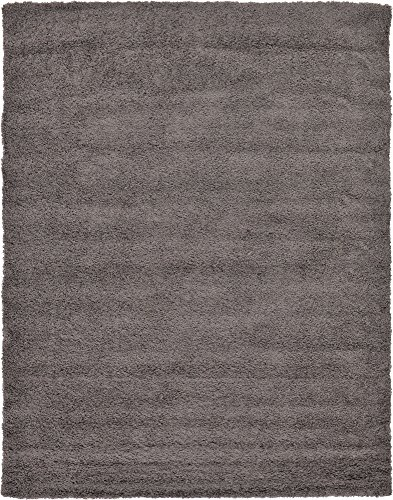 A2Z Rug Cozy Shaggy Collection 9x12-Feet Solid Area Rug - Graphite Gray - 12' Round Shag Rug