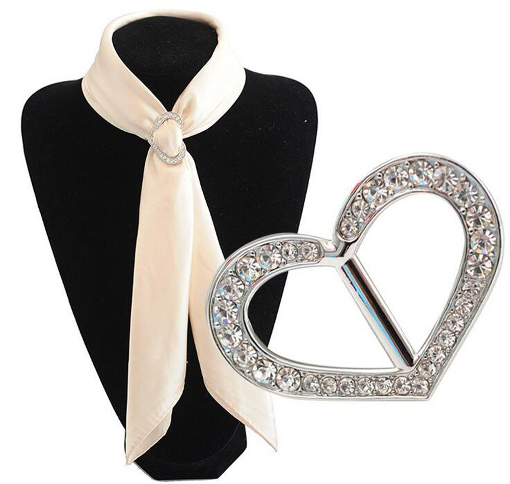 Luxury Fashionable Love Heart Rhinestone Metal Scarves Buckle Silk Sarf Clasp Clips Clothing Neckerchief Ring Wrap Holder for Women Girls Xmas Gift (Silver) erioctry