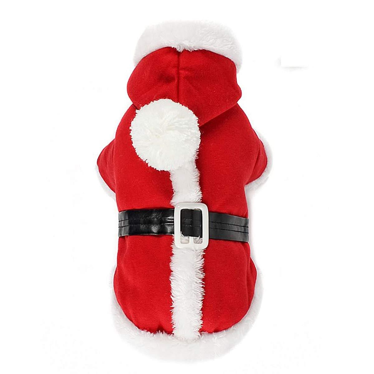 Puppy Dog Christmas Coat Doggy Santa Costume Outfit with a LED Flashing Dog Tag PETLESO Dog Santa Costume