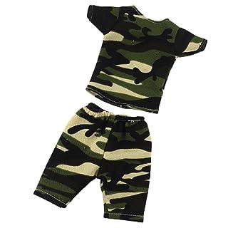 MagiDeal Maglietta Manica Corta Pantaloni Vestiti Abiti Bambole Accessori per Americana Bambina 14,5' Panno Camo