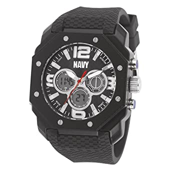 US Navy Wrist Armor C28 Watch, Blk Dial & Blk Rubber Strap