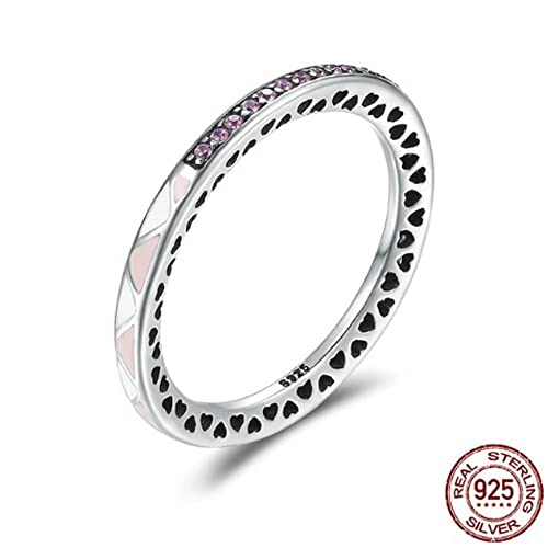 Amazon.com: T&T Anillo de plata de ley romántico radiante ...