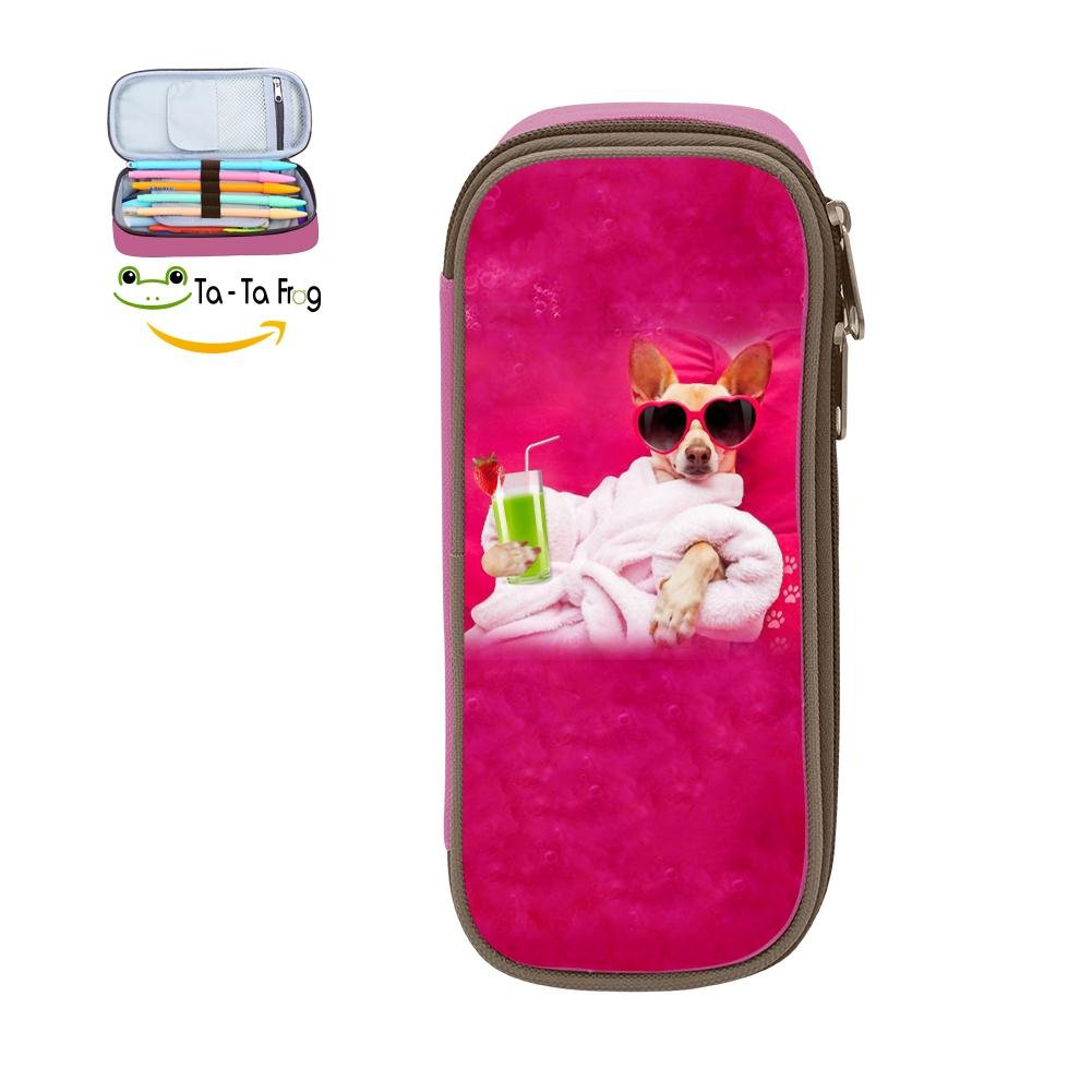 Cute Large Capacity Cool Canvas Pencil Case Pen Bag Dog Spa Wellness Student Pink