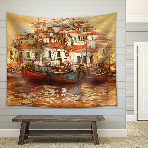 Boats on the Island Harbor Handmade Oil Painting Fabric Wall Tapestry