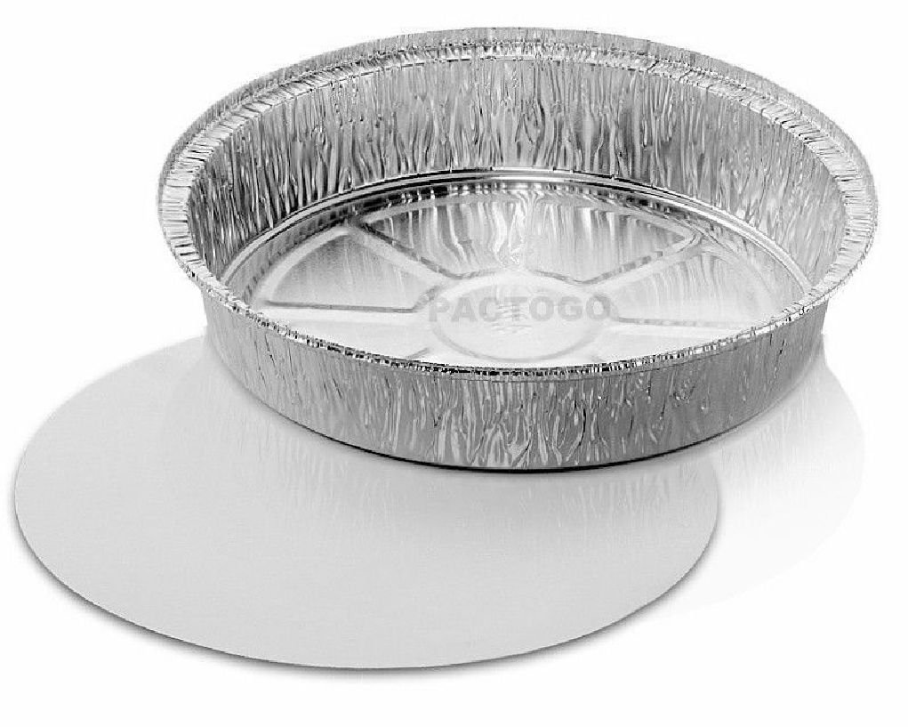 9'' Round Aluminum Foil Food TakeOut Pan Container w/Board Lid Disposable Tins