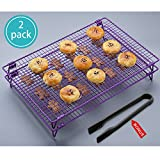 kitchen accessories and baking - KALREDE Cooling Rack Folding Baking Rack Pack of 2 - Wire Non-Stick Cookie Cooling Racks Bonus a Plastic Food Tong for Cookie,Bread,Cake or Baked Foods - Baking Accessories ( 17 X 11 Inches,Purple)