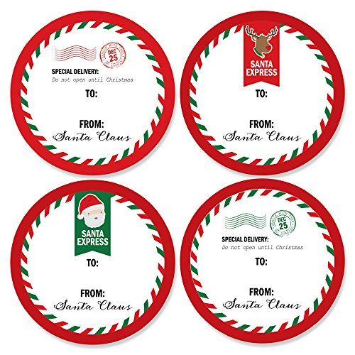 Santa's Special Delivery - Small Circle From: Santa Claus Christmas Stickers - Set of 24 (Four Santa)
