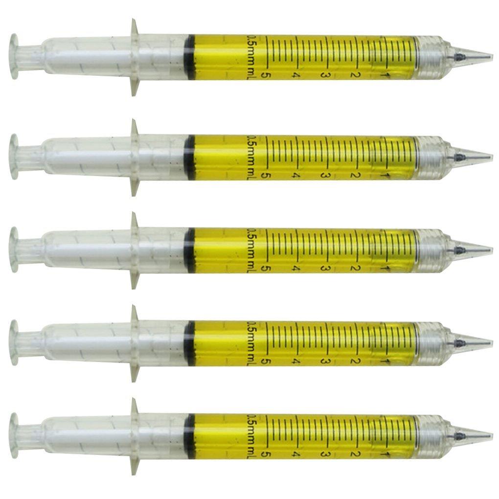 Providethebest 5pcs Syringe Shaped 0.5mm Blau Refill Kugelschreiber aus Kunststoff Kugelschreiber-Schule-Briefpapier Zubehör rot Zeichenwerkzeuge