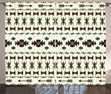 Ambesonne Native American Curtains, Tribal Pattern Aztec Inca Illustration Ethnic Geometric Arrangement, Living Room Bedroom Window Drapes 2 Panel Set, 108 W X 63 L Inches, Beige and Brown