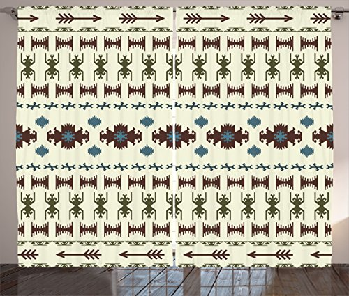 Ambesonne Native American Curtains, Tribal Pattern Aztec Inc