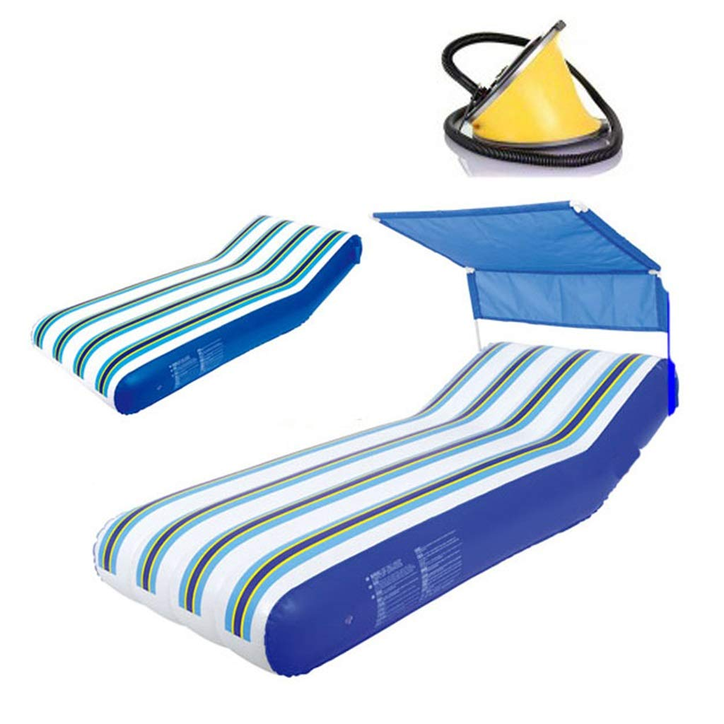 B 19174CM Floating Row Inflatable Floating Bed Water Recliner Air Bed With Awning Swimming Ring Swimming Lap Inflatables Pool Toys Bearing Weight 90kg (color   B, Size   191  74CM)