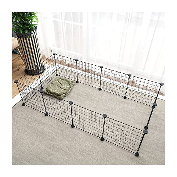 Pet Playpen Animal Fence Cage - Tespo DIY Exercise Pen Crate Kennel Hutch for Small Animals, Bunny, Rabbit, Puppy & Guinea Pigs, Indoor Upgrade 12 Panels