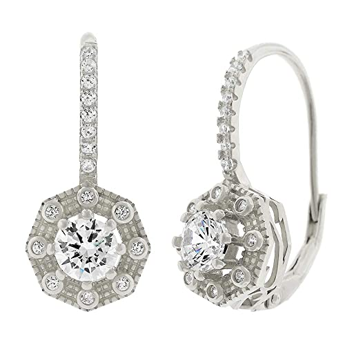 Sterling Silver Rhodium Micropave Halo Circle Dangling Earring