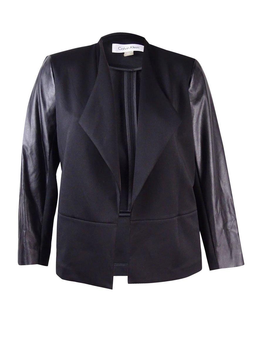 Calvin Klein Women's Plus Size Scuba Faux Leather Jacket (18W, Black)