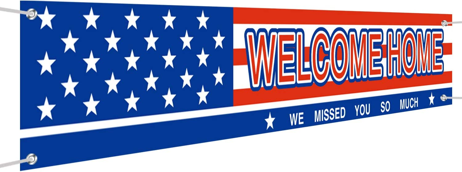 Large Welcome Home Banner, Deployment Returning Party Supplies Decorations for Both Outdoor Indoor, Military Army Homecoming Party Backdrop Banner for Party Decoration (9.8 x 1.6ft)