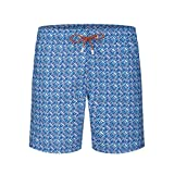 Bugatchi Men's Elastic Waist Weave Pattern Quick Dry Swim Trunks, Ocean Blue, M