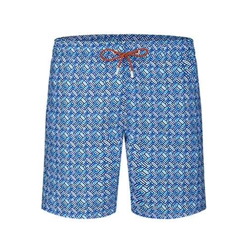 Bugatchi Men's Elastic Waist Weave Pattern Quick Dry Swim Trunks, Ocean Blue, M by Bugatchi