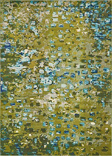 Modern Abstract Geometric 8 feet by 11 feet (8' x 11') Barcelona Green Contemporary Area Rug (Barcelona Brown Rug)