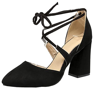 d31fb8bbc5ac Atyche Women s High Heels Lace up Strappy Court Shoes Ankle Strap Elegant  Pointed Toe Sandals Summer Shoes  Amazon.co.uk  Shoes   Bags
