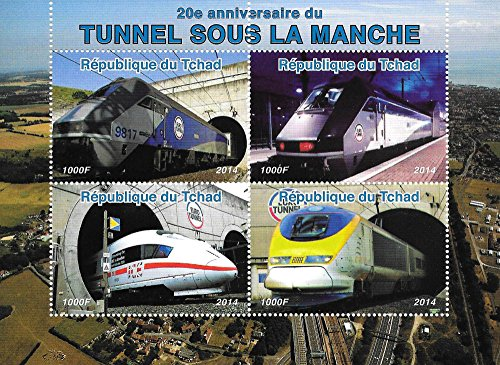 Mnh Trains (Collectible Stamps - 20th Anniversary of the Euro Tunnel Trains MNH Souvenir Sheet / Chad / 2014)
