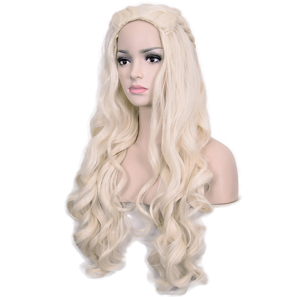 Amazon.com: Deifor Long Curly Wave Synthetic Hair with Braids for Daenerys Targaryen Costume Cosplay Wigs (Light Blonde): Beauty