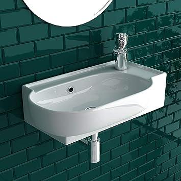 bad1a Handwaschbecken Mini Waschtisch Weiß Keramik-Waschbecken 45cm ...