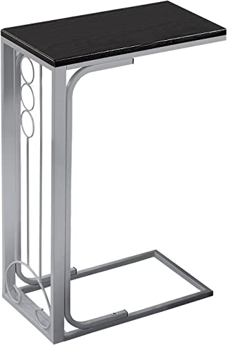 24.5″ Black and Silver Contemporary Rectangular Accent End Table