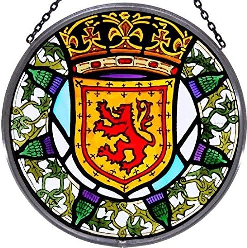 Decorative Hand Painted Stained Glass Window Sun Catcher Roundel in a Scottish Lion and Thistle Design