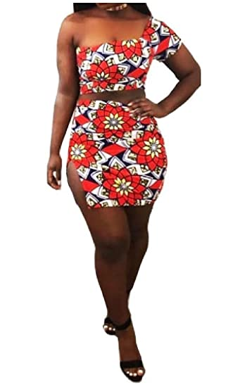 36cb4abae09dd7 Coolred-Women One Shoulder Off Wrap Print Two-Piece Tops and Skirt Sets  Orange